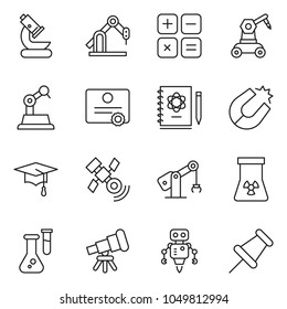 thin line icon set - microscope vector, telescope, flask, logbook, magnet, nuclear, satellite, graduate hat, calculator, robot, manufacture, certificate, drawing pin