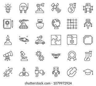 thin line icon set - microscope vector, telescope, owl, flask, logbook, rocket, bulb, magnet, globe, saturn, satellite, spirit lamp, 3d printer, robot, manufacture, cpu chip, circuit, gear, puzzle