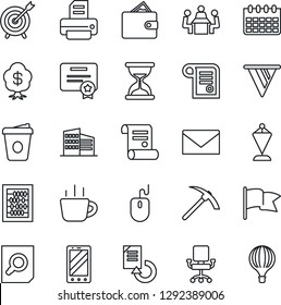 Thin Line Icon Set - mobile phone vector, mail, pennant, document search, abacus, mouse, coffee, calendar, reload, printer, contract, meeting, office building, target, wallet, pennon, chair, flag
