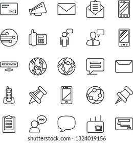 Thin Line Icon Set - mobile phone vector, speaking man, mail, office, loudspeaker, network, cell, speaker, paper pin, message, clipboard, reserved, schedule