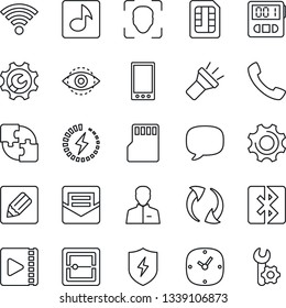 Thin Line Icon Set - mobile vector, call, message, update, protect, settings, user, clock, stopwatch, mail, scanner, sd, sim, notes, wireless, torch, bluetooth, face id, eye, music, video, charge