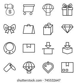 thin line icon set : money gift, delivery, parachute, bow, shopping bag, diamond, necklace, package box, label, heart pendant