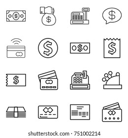 thin line icon set : money, gift, cashbox, message, tap to pay, dollar coin, receipt, credit card, invoice