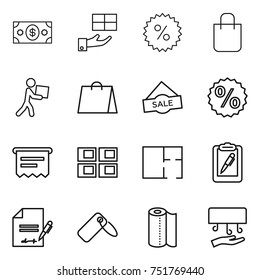 thin line icon set : money, gift, percent, shopping bag, courier, sale, atm receipt, panel house, plan, clipboard pen, inventory, label, paper towel, hand dryer
