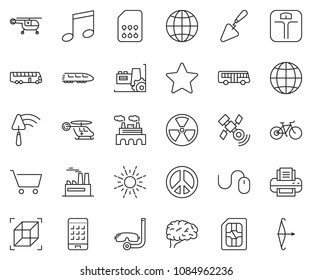 thin line icon set - mouse vector, globe, smart phone, factory, trowel, sun, pacific, nuclear, sim card, train, bus, medical helicopter, brain, satellite, 3d cube, star, music, cart, printer, bike