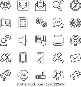 Thin Line Icon Set - no mobile vector, phone, satellite, 24 hours, microphone, antenna, speaker, cell, dialog, share, mail, hdmi, sim, company, wireless, router, intercome, home control app, gear