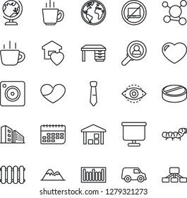 Thin Line Icon Set - no laptop vector, globe, desk, coffee, caterpillar, pills, molecule, earth, term, warehouse, barcode, heart, mobile camera, eye id, presentation board, tie, mountains, radiator