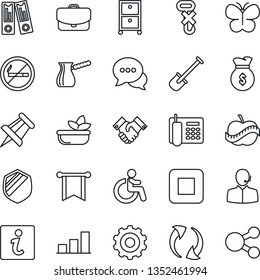 Thin Line Icon Set - no smoking vector, disabled, gear, office binder, drawing pin, shovel, butterfly, diet, hook, shield, dialog, stop button, update, bar graph, phone, support, archive box, salad