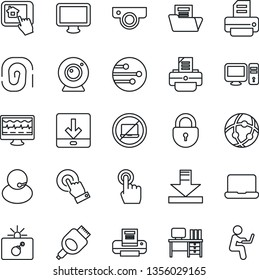 Thin Line Icon Set - no laptop vector, bomb in case, lock, desk, printer, monitor pulse, support, touch screen, hdmi, network, download, document folder, notebook pc, web camera, home control app