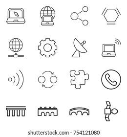 thin line icon set : notebook, globe, molecule, hex, connect, gear, satellite antenna, wireless, quantum bond, puzzle, phone, bridge