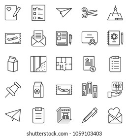 thin line icon set - notes vector, pen, office folder, certificate, mortgage, fly ticket, newspaper, check list, scissors, wallpaper, plan, milk, vote, draw, paper plane, logbook, drawing pin, gift