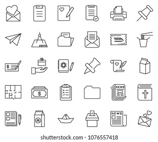 thin line icon set - notes vector, cash, check, printer, train ticket, clipboard list, newspaper, paper plane, ship, plan, milk, Chinese food, holy bible, vote, draw, logbook, drawing pin, folder
