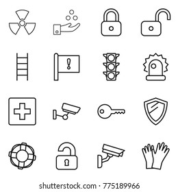 Thin line icon set : nuclear, chemical industry, lock, unlock, stairs, important flag, traffic light, alarm, first aid, surveillance, key, shield, lifebuoy, unlocked, camera, gloves