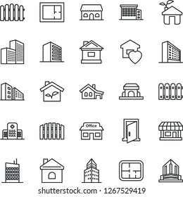 Thin Line Icon Set - office building vector, fence, house, hospital, store, with garage, plan, sweet home, city, cafe, eco, door
