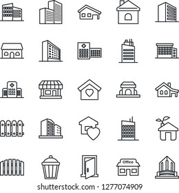Thin Line Icon Set - office building vector, house, garden light, hospital, store, with garage, fence, sweet home, city, cafe, eco, door