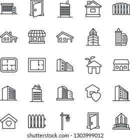 Thin Line Icon Set - office building vector, fence, house, garden light, store, with garage, plan, sweet home, city, cafe, eco, door