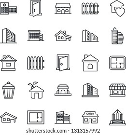 Thin Line Icon Set - office building vector, fence, house, garden light, hospital, store, with garage, plan, sweet home, cafe, eco, door