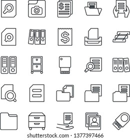 Thin Line Icon Set - office binder vector, document search, receipt, folder, photo gallery, paper, tray, archive box, usb flash