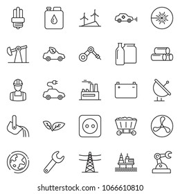 thin line icon set - offshore oil platform vector, fan, jack, leaf, windmill, earth, battery, power line pillar, socket, factory, workman, canister, bulb, eco car, electric, unmanned, pipes, laser