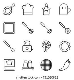 thin line icon set : pan, cook hat, apron, glove, cutting board, whisk, skimmer, spatula, toaster, electric oven, induction, cooking book, salt pepper, sieve, hot