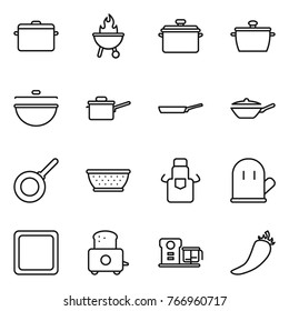 Thin line icon set : pan, bbq, cauldron, saute, colander, apron, cook glove, cutting board, toaster, food processor, hot pepper