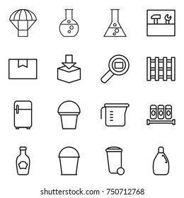 thin line icon set : parachute, round flask, tools, package box, cargo search, pallet, fridge, bucket, measuring cup, spices, ketchup, trash bin, cleanser