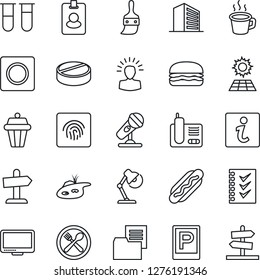 Thin Line Icon Set - parking vector, office building, blood test vial, pills, folder document, microphone, monitor, radio phone, themes, record, fingerprint id, coffee, checklist, desk lamp, pond