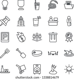 Thin Line Icon Set - parking vector, trash bin, medal, drawing pin, manager place, bulb, job, farm fork, sproute, hose, fragile, cargo, flame disk, speaker, office building, document folder, company