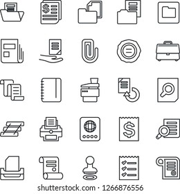 Thin Line Icon Set - passport vector, stamp, contract, document search, notepad, reload, receipt, folder, case, paper clip, news, checklist, printer, tray, copier