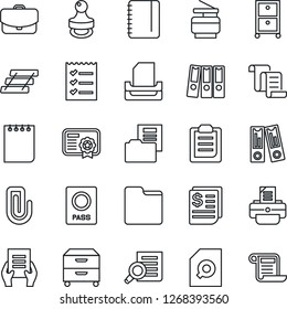 Thin Line Icon Set - passport vector, contract, office binder, document search, notepad, printer, receipt, folder, clipboard, paper clip, checklist, tray, archive box, copier, stamp, case