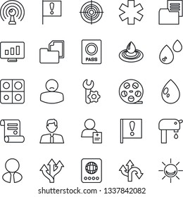 Thin Line Icon Set - passport vector, statistic monitor, contract, water drop, ambulance star, patient, route, important flag, folder document, reel, antenna, application, root setup, target, supply