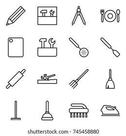 thin line icon set : pencil, tools, drawing compasses, cafe, cutting board, repair, skimmer, spatula, rolling pin, soil cutter, fork, broom, rake, plunger, brush, iron