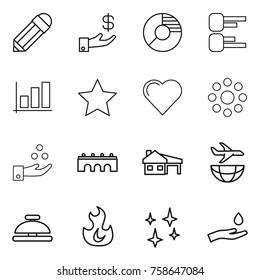 Thin line icon set : pencil, investment, circle diagram, graph, star, heart, round around, chemical industry, bridge, house with garage, plane shipping, service bell, fire, shining, hand and drop