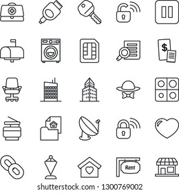 Thin Line Icon Set - pennant vector, document search, doctor case, satellite antenna, chain, heart, pause button, hdmi, sim, application, office building, copier, estate, rent, key, washer, mailbox