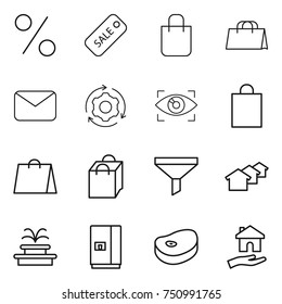 thin line icon set : percent, sale, shopping bag, mail, around gear, eye identity, funnel, houses, fountain, fridge, steake, housing
