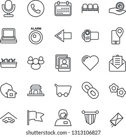 Thin Line Icon Set - phone vector, waiting area, left arrow, gear, pennant, seedling, heart, support, mobile tracking, video camera, microphone, chain, group, mail, photo gallery, notebook pc, cart