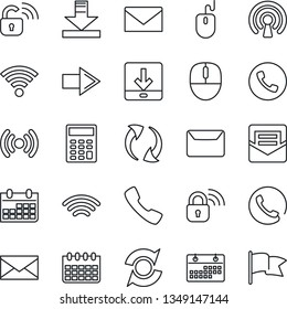 Thin Line Icon Set - phone vector, right arrow, mail, mouse, calendar, call, update, download, wireless, calculator, lock, flag