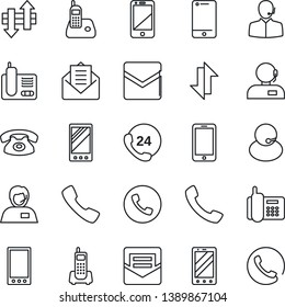 Thin Line Icon Set - phone vector, mobile, office, 24 hours, support, cell, radio, mail, call, data exchange