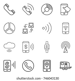 thin line icon set : phone, call, circle diagram, touch, notebook connect, wireless, cloud, pay, smart watch, antenna, mobile, location, trailer