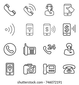 thin line icon set : phone, call, center, touch, wireless, pay, mobile, 24, support manager, location, camera, intercome