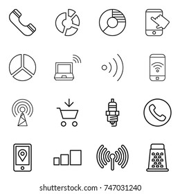 thin line icon set : phone, circle diagram, touch, notebook wireless, antenna, add to cart, spark plug, mobile location, sorting, grater