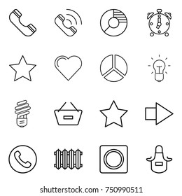 thin line icon set : phone, call, circle diagram, alarm clock, star, heart, bulb, remove from basket, right arrow, radiator, ring button, apron