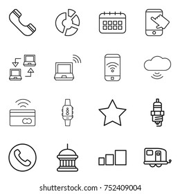 thin line icon set : phone, circle diagram, calendar, touch, notebook connect, wireless, cloud, tap to pay, smart watch, star, spark plug, goverment house, sorting, trailer