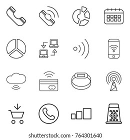 Thin line icon set : phone, call, circle diagram, calendar, notebook connect, wireless, cloud, tap to pay, smart bracelet, antenna, add cart, sorting, grater