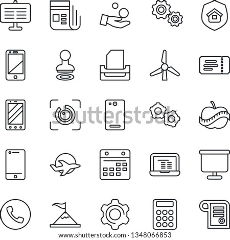Thin Line Icon Set Phone Vector Stock Vector (Royalty Free