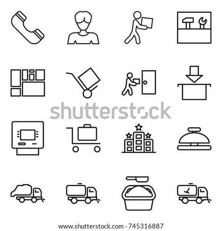 80d1c2fb6 Thin Line Icon Set Phone Woman Stock Vector (Royalty Free) 745316887 ...