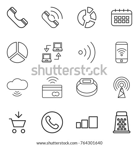 thin line icon set : phone, call, circle diagram, calendar, notebook connect