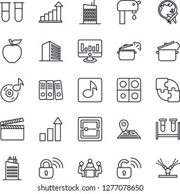 Thin Line Icon Set - plane globe vector, office building, growth statistic, monitor, blood test vial, navigation, clapboard, scanner, music, application, paper binder, meeting, water supply