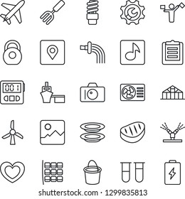 Thin Line Icon Set - plane vector, dispatcher, camera, seat map, garden fork, bucket, watering, greenhouse, heart, blood test vial, sea port, clipboard, heavy, gallery, stopwatch, place tag, music