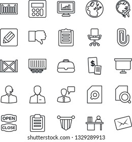 Thin Line Icon Set - plane globe vector, speaking man, pennant, presentation board, truck trailer, container, clipboard, barcode, finger down, user, calculator, notes, monitor statistics, paper clip